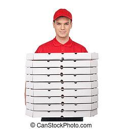 sourire, ton, pizza!, isolé, jeune, gai, quoique, boîtes, tenue, blanc, pizza, pile, homme