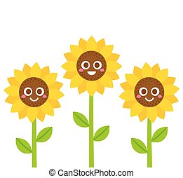 sourire, tournesols, illustration