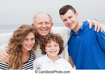 sourire, vacances plage, famille, heureux