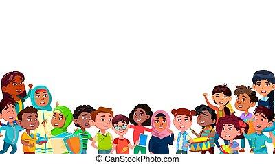 sourire, vecteur, groupe, mulicultural, enfants