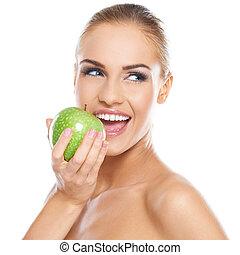 sourire, vert, beauté, tenue, pomme