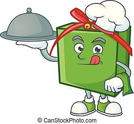 sourire, vert, cadeau, style, dessin animé, nourriture, conception, chef cuistot, boîte