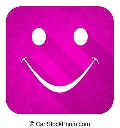 sourire, violet, icône, noël, plat, bouton