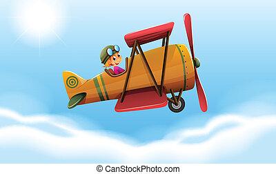 sourire, voler, avion, pilote
