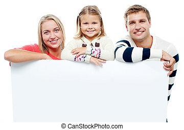 sourire, whiteboard, studio, famille