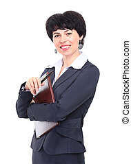 sourire, woman., business