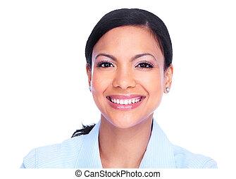 sourire, woman., heureux