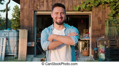 sourire, yard, jeune homme