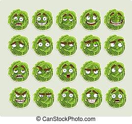 sourires, chou, vert, dessin animé