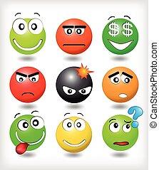 sourires, différent, ensemble, expression, émotions