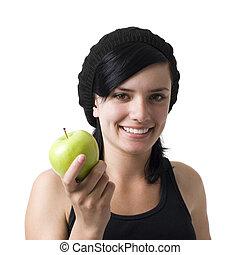 sourires, girl, pomme