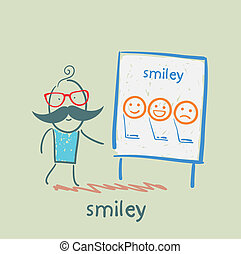 sourires, projection, présentation, homme