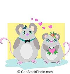 souris, couple, aimer