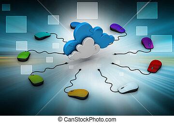 souris, informatique, connecté, nuage
