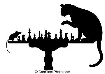 souris, jouer, chat