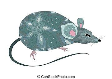 souris, mignon, décoratif, ton, gris, rat., conception
