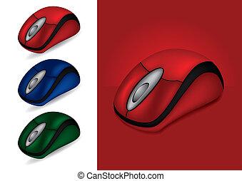 souris ordinateur, dans, différent, couleurs, -, vecteur,...