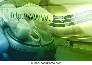souris ordinateur, internet, homme
