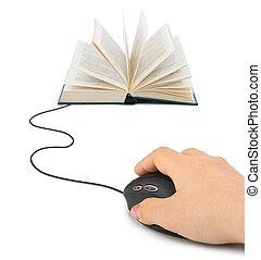 souris ordinateur, livre, main