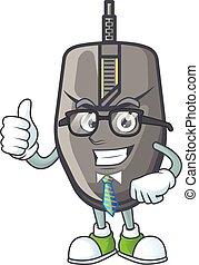 souris, réussi, homme affaires, dessin animé, portant lunettes, noir