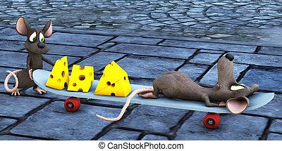 souris, skateboard