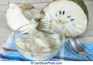 Soursop fruit dessert - Bowl of white flesh of soursop fruit...