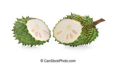 Soursop fruit on white background