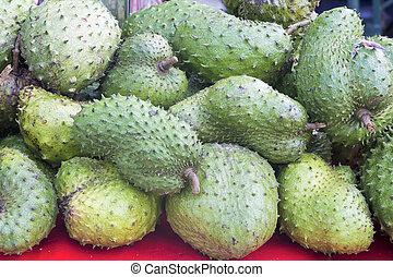 soursop, stalle, vendeur, fruit