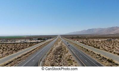 sous, aérien, ciel, route, bleu, milieu, californie, désert...