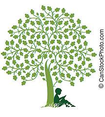 sous, arbre, lecture, enfant