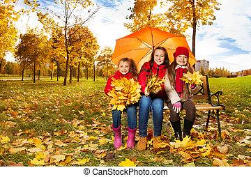 sous, autum, filles, parapluie, parc