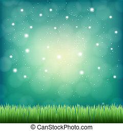 sous, ciel, fantasme, vert, nuit, herbe