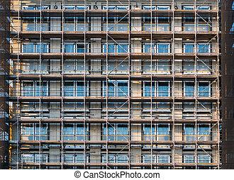 sous, construction bâtiments, nouveau, échafaudage, façade