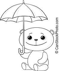 sous, contour, asseoir, parapluie, ours peluche