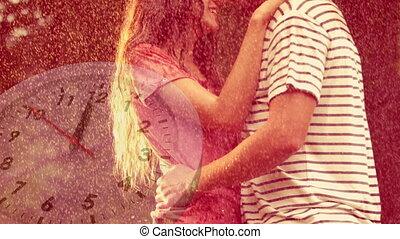 sous, debout, couples dehors, pluie