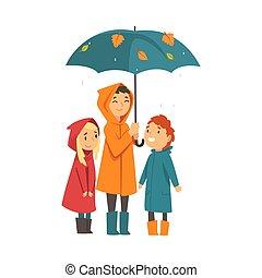 sous, dessin animé, trois enfants, parapluie, vecteur,...