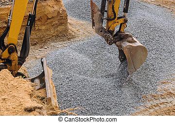sous, en mouvement, excavateur, maison, gravier, construction