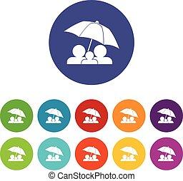 sous, ensemble, parapluie, famille, icônes
