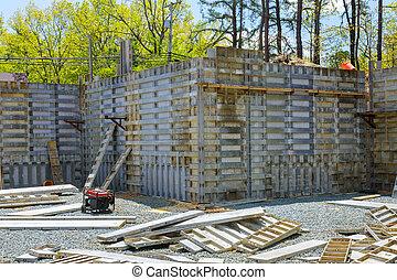 sous, fondation, construction, métal, intérieur, formwork, squelette, préparé, bâtiment, verser