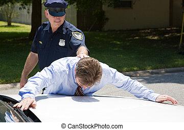 sous, homme affaires, arrestation