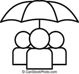 sous, icône, contour, gens, parapluie, style
