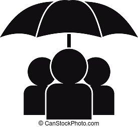 sous, icône, gens, style, parapluie, simple