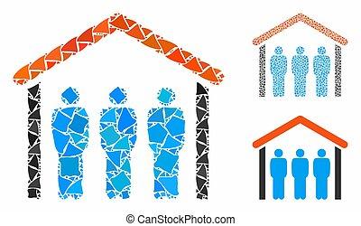 sous, icône, mosaïque, éléments, toit, irrégulier, gens