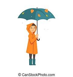 sous, imperméable, enfant, dessin animé, parapluie, vecteur,...