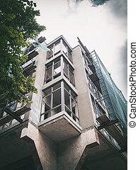 sous, installation, construction bâtiments, fenetres, balcons