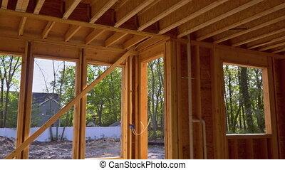 sous, intérieur, encadrement, faisceau, construction, chambre maison, nouveau