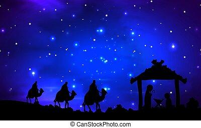 sous, joseph, marie, étoiles, jésus