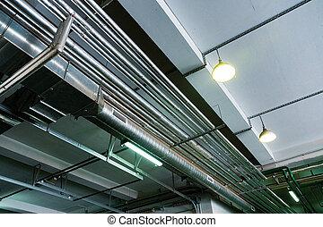 sous, métal, plafond, canaux transmission
