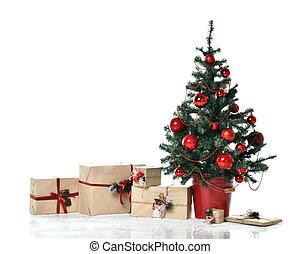 sous, métier, lourd, nouveau, décoré, année, ornement, balles, neige, patchwork, 2019, arbre noël, présente, rouges, dons