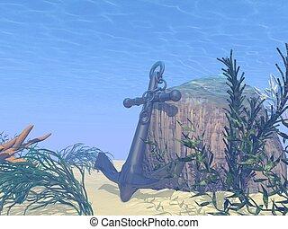 sous-marin, -, ancre, render, 3d